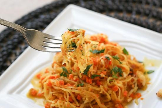 Spaghetti Squash with Walnut-Carrot Sauce (Paleo)