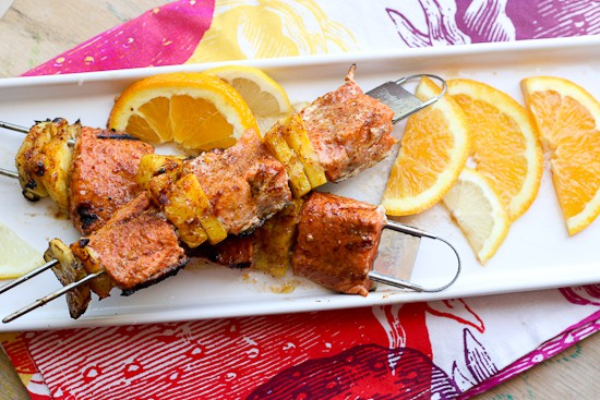 Jerk Salmon and Pineapple Skewers
