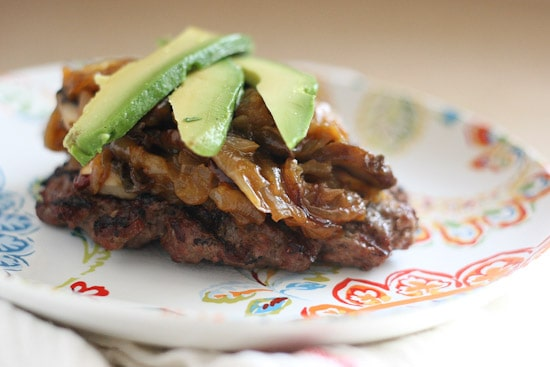 Chipotle Caramelized Onion and Mushroom Burgers (Paleo) -- www.PerrysPlate.com