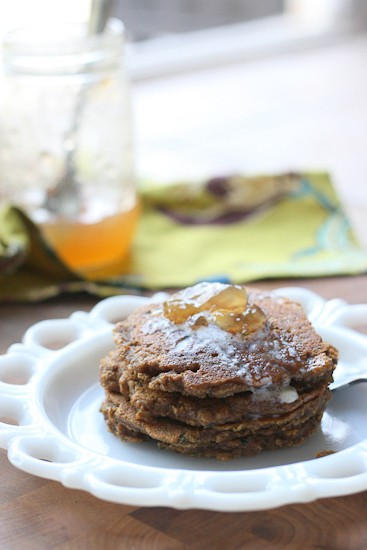 Gingerbread Zucchini Pancakes - www.PerrysPlate.com