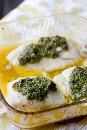 Baked Cod with Lemon-Basil Pesto