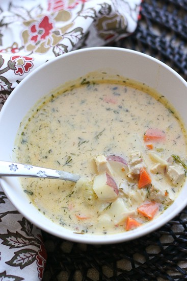 Dill Turkey Chowder with Sweet Potatoes-Dill Turkey Chowder with Sweet Potatoes - PerrysPlate.com