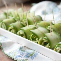 Paleo Pesto Shrimp Cucumber Rolls