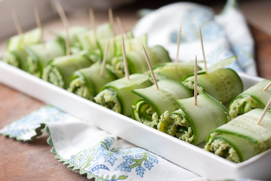 Pesto Shrimp Cucumber Rolls - www.PerrysPlate.com