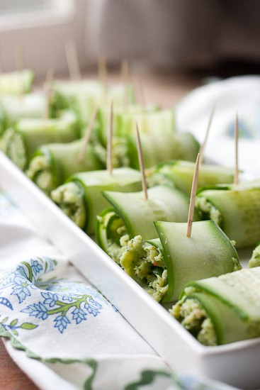 Pesto Shrimp Cucumber Rolls-9