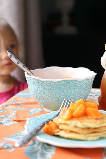 Grain-Free Dreamsicle Pancakes with Clementine-Vanilla Bean Compote - www.perrysplate.com