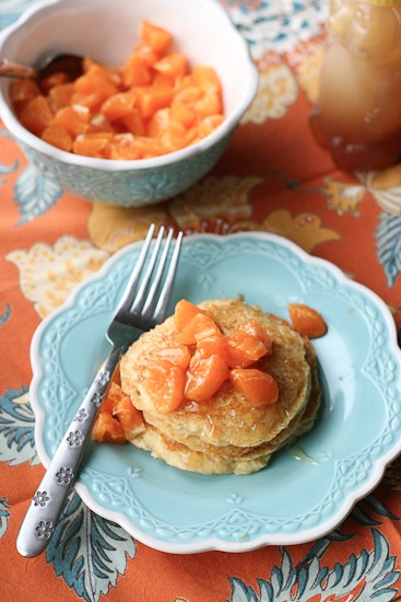 Grain-Free Dreamsicle Pancakes with Clementine-Vanilla Bean Compote