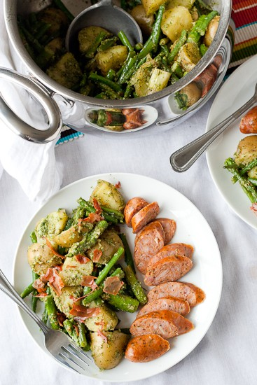 Spring Vegetable Salad with Dill Pesto and Prosciutto