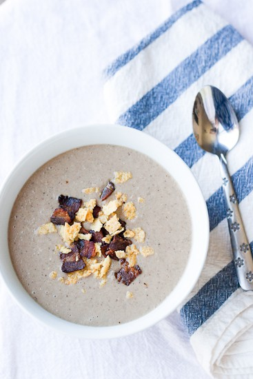 Creamy Paleo Mushroom Soup with Bacon and Cheese Crisps
