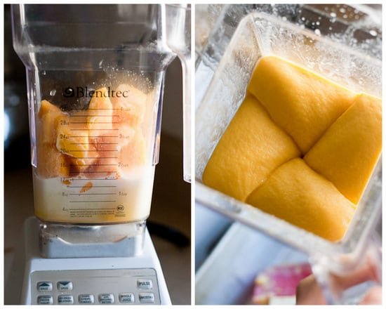 5-Minute Mango Sorbet (in the blender!) - Just a few minutes and 3 ingredients and you'll have a dairy-free, vegan, and paleo-friendly frozen dessert to share! Or not. #notjudging | perrysplate.com