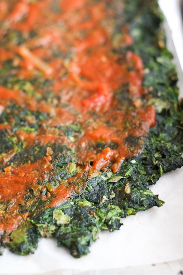 Greens Pizza Crust - A pizza crust made from spinach or kale! I know what you're thinking, but it's way better than you'd think it would be. | Low-carb pizza | Paleo pizza | PerrysPlate.com
