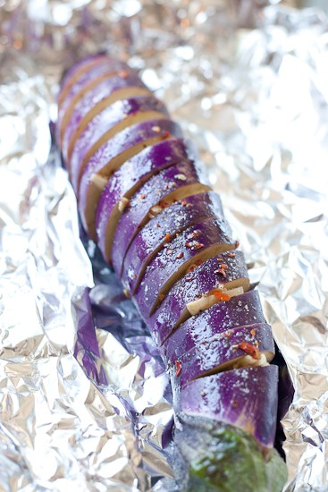Spicy Garlic Hasselback Eggplant