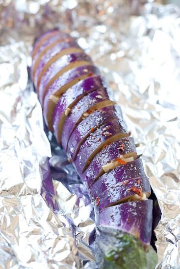 Spicy Garlic Hasselback Eggplant