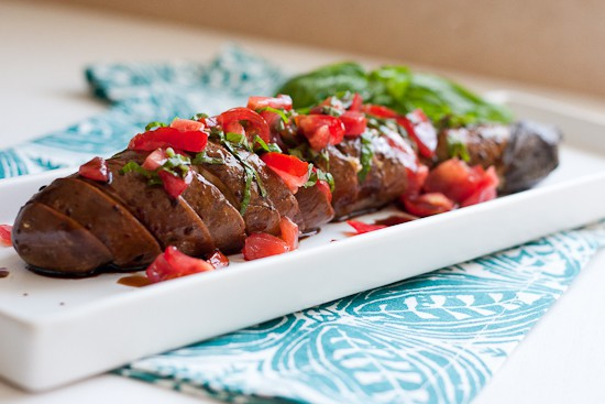 Spicy Garlic Hasselback Eggplant with Tomato Basil Relish