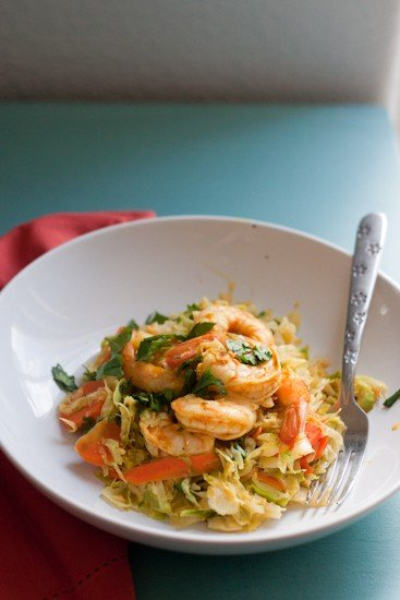 Shredded vegetables and tender shrimp gets tossed in a flavorful, Thai-inspired sauce. This comes together so quickly for an easy weeknight meal! It's also Paleo, Keto, and Whole30 friendly! | Perrysplate.com