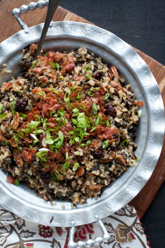Wild Rice Stuffing with Prosciutto, Cherries, and Spiced Pecans
