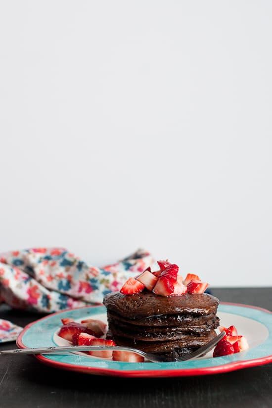Dark Chocolate Paleo Pancakes