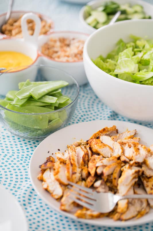 Thai Grilled Chicken Bowls with Mango-Lime Dressing