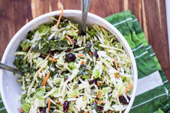 Sweet Kale Salad (Costco Copycat) -- Made with avocado oil-based dressing and a snap to put together! Makes a great potluck salad, too. | Paleo recipes | Potluck recipes | perrysplate.com