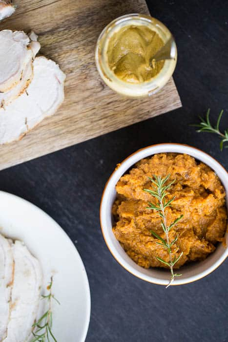 Mustard-Herb Pork Loin with Maple Butternut Mash | perrysplate.com