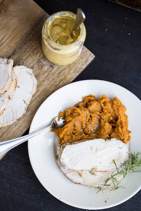 Mustard-Herb Pork Loin with Maple Butternut Mash | perrysplate.com