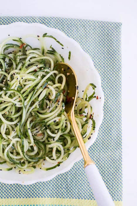 Sesame Marinated Cucumber Noodles -- a perfect #paleo side dish for any Asian-type main dish! | perrysplate.com
