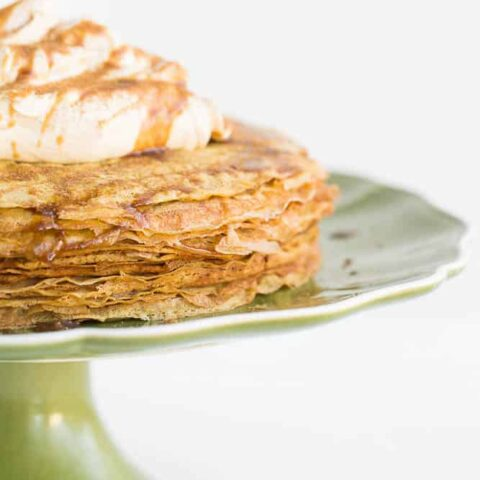 Pumpkin Salted Caramel Crepe Cake with Spiced Coconut Cream