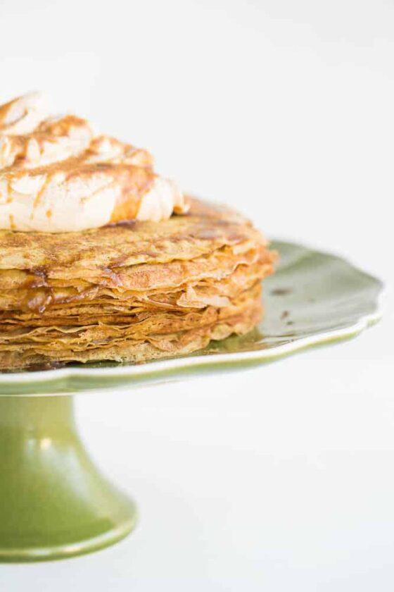 Pumpkin Salted Caramel Crepe Cake (Gluten-Free and Dairy Free) | perrysplate.com