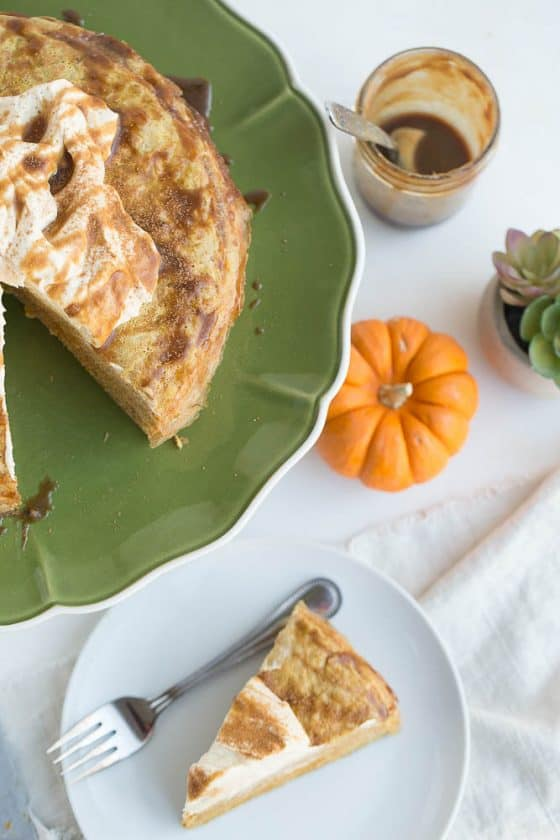 Pumpkin Salted Caramel Crepe Cake (Gluten-Free and Dairy Free) | perrysplate.com
