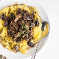 Spaghetti Squash with Roasted Mushroom and Garlic Sauce