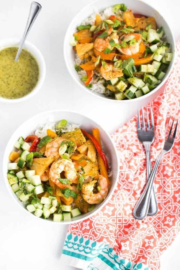 Chipotle Shrimp and Pineapple Bowls | Paleo and easily made Whole30 compliant! | paleo recipes | Whole30 recipes | perrysplate.com