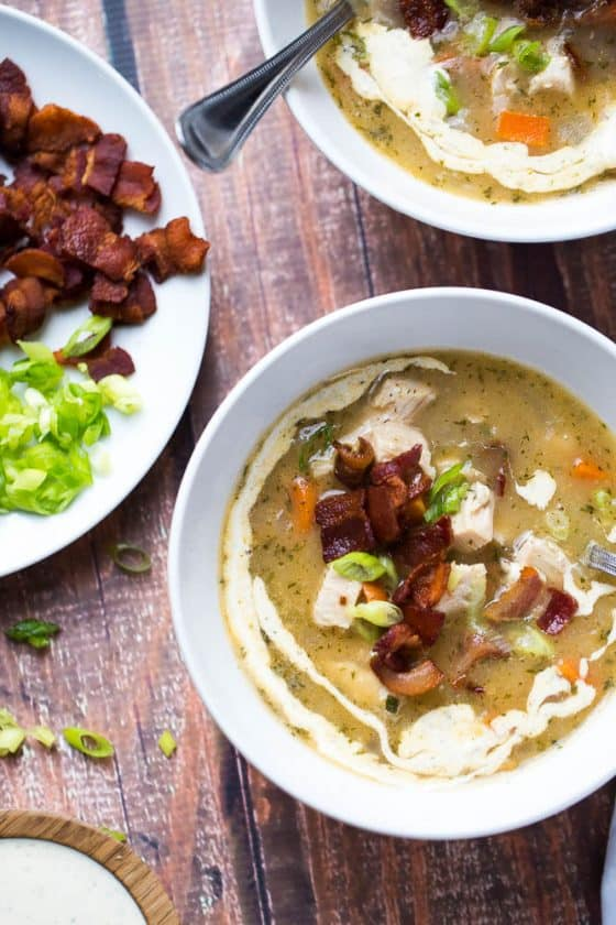 Paleo Turkey Bacon Ranch Chowder | perrysplate.com | paleo soup recipes | whole30 recipes