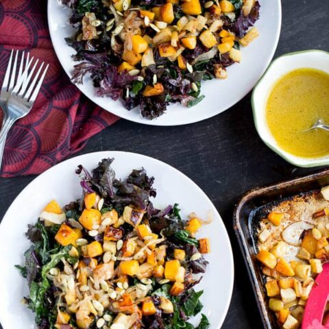 Kale Salad with Roasted Butternut Squash and Apples