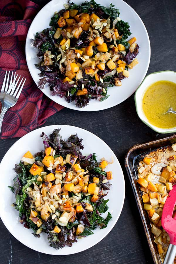 Kale Salad with Roasted Butternut Squash and Apples | paleo recipes | kale recipes | Whole30 recipes | butternut squash recipes | apple recipes | perrysplate.com