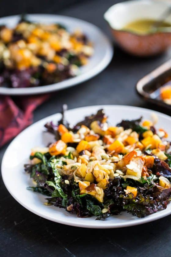 Kale Salad with Roasted Butternut & Apples -- part of the Whole30 meal plan for this week!