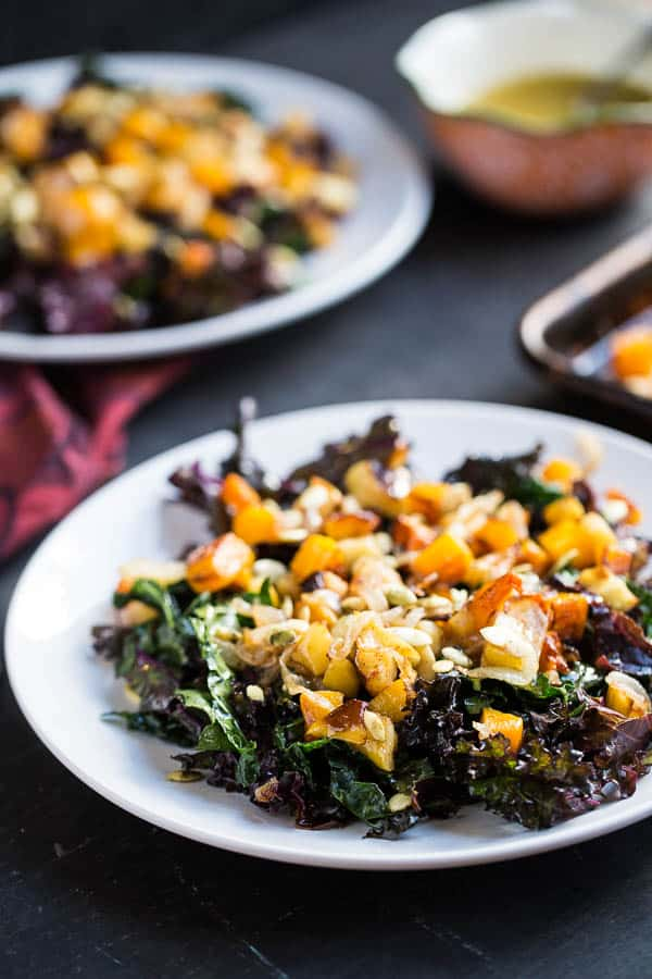 Kale Salad with Roasted Butternut Squash and Apples | paleo recipes | kale recipes | Whole30 recipes | butternut squash recipes | apple recipes | perrysplate.com
