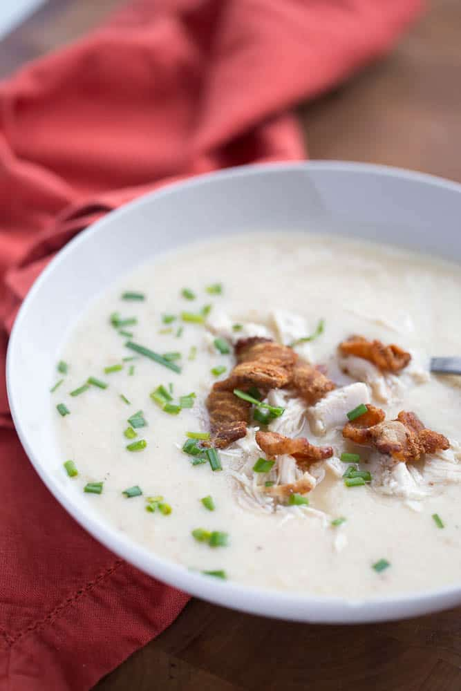 Bacon Roasted Chicken & Cauliflower Soup | paleo recipes | Whole30 recipes | soup recipes | perrysplate.com