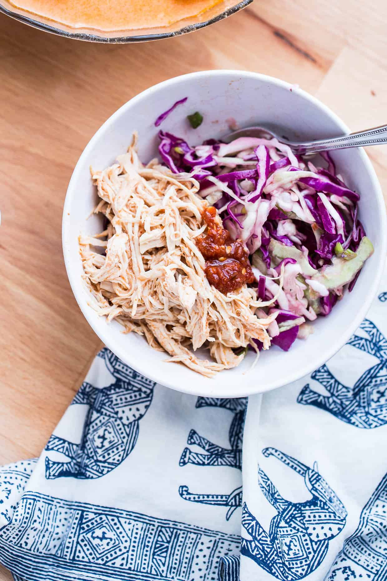 Instant Pot Shredded Red Curry Chicken & Sweet Thai Slaw   Whole30 recipes   paleo recipes   perrysplate.com