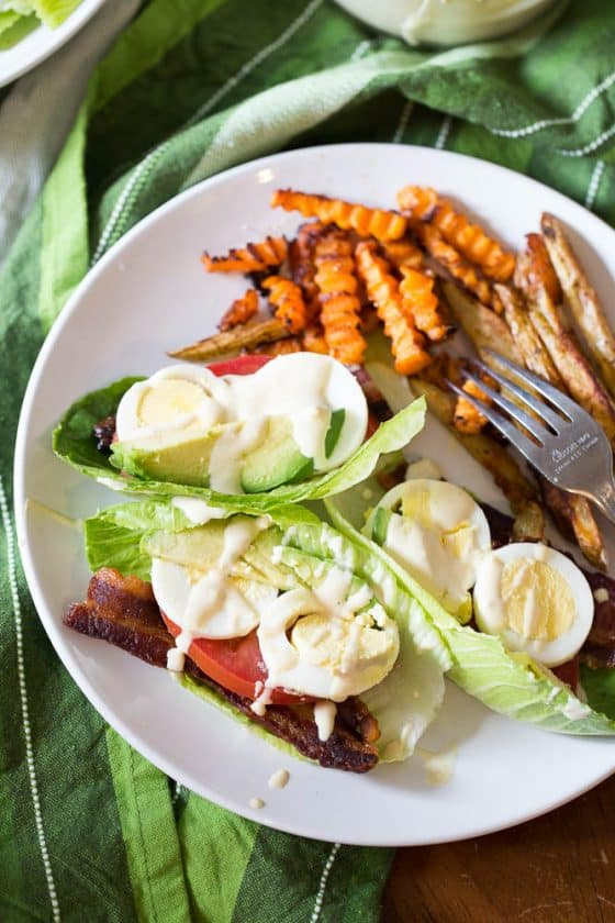 Cobb salad meets BLT meets lettuce wrap -- drizzled with a creamy mustard sauce. | Whole30 recipes | Keto recipes | low-carb recipes | perrysplate.com