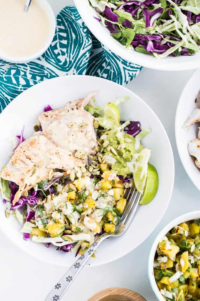 Chile-Lime Fish Taco Bowls with Citrus Crema | Paleo recipes | Whole30 recipes | fish recipes | grilling recipes | perrysplate.com