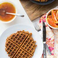 Paleo Sweet Potato Waffles with Orange-Maple Syrup