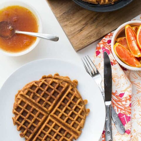 Paleo Sweet Potato Waffles with Orange-Maple Syrup