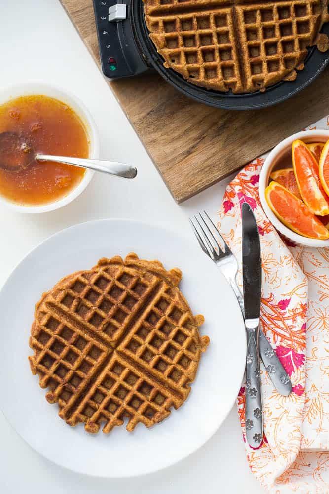 Paleo Sweet Potato Waffles with Orange-Maple Syrup | paleo recipes | waffle recipes | gluten-free recipes | sweet potatoes | perrysplate.com