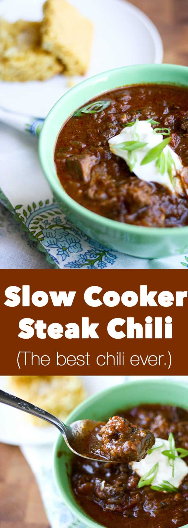 "This slow cooker steak chili is literally the best chili I've eaten in my life. It has won so many chili competitions and is my go-to recipe for a solid, ""fancy"" chili to impress! - www.PerrysPlate.com 