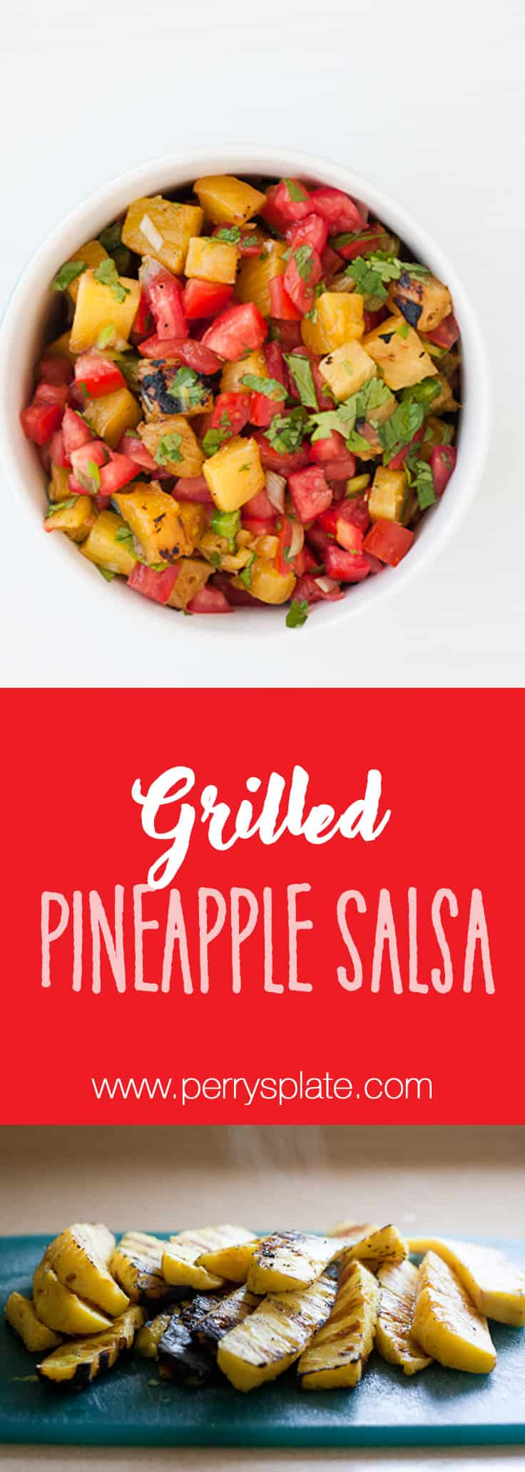 Grilled Pineapple Salsa -- a sweet and spicy alternative to regular salsa and perfect on tacos or Mexican-inspired salads! | PerrysPlate.com