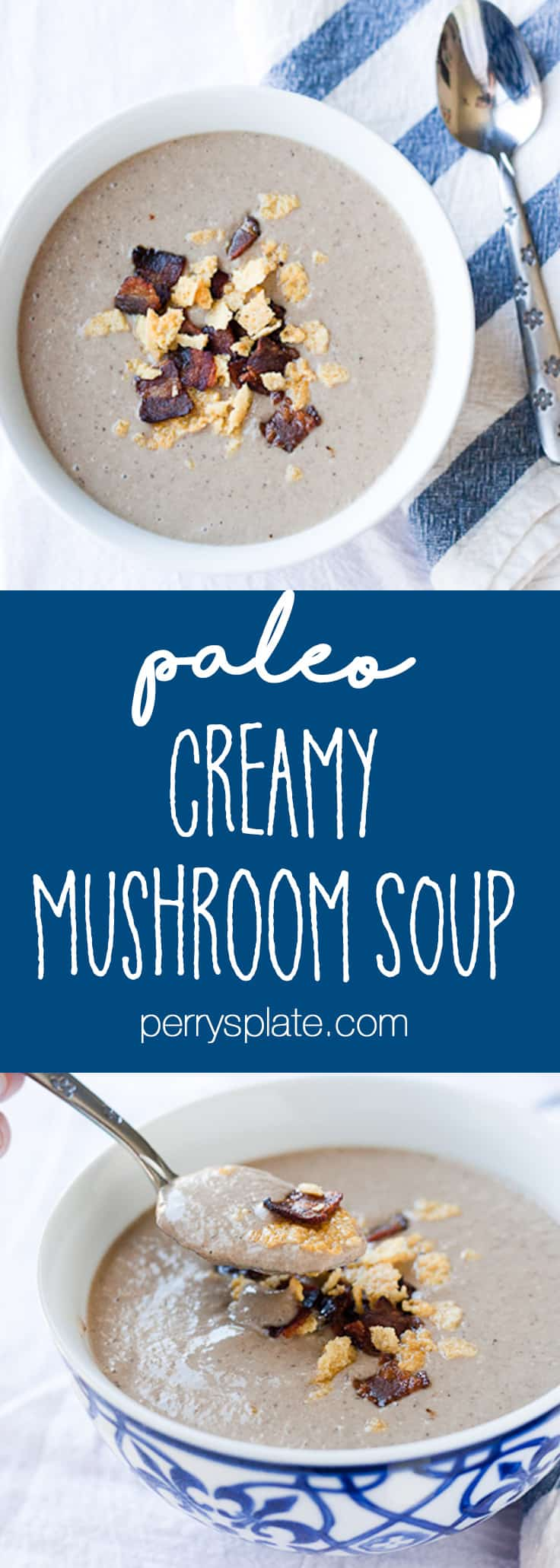 Creamy Paleo Mushroom Soup with Bacon and Cheese Crisps | Dairy-Free recipes | Perrysplate.com