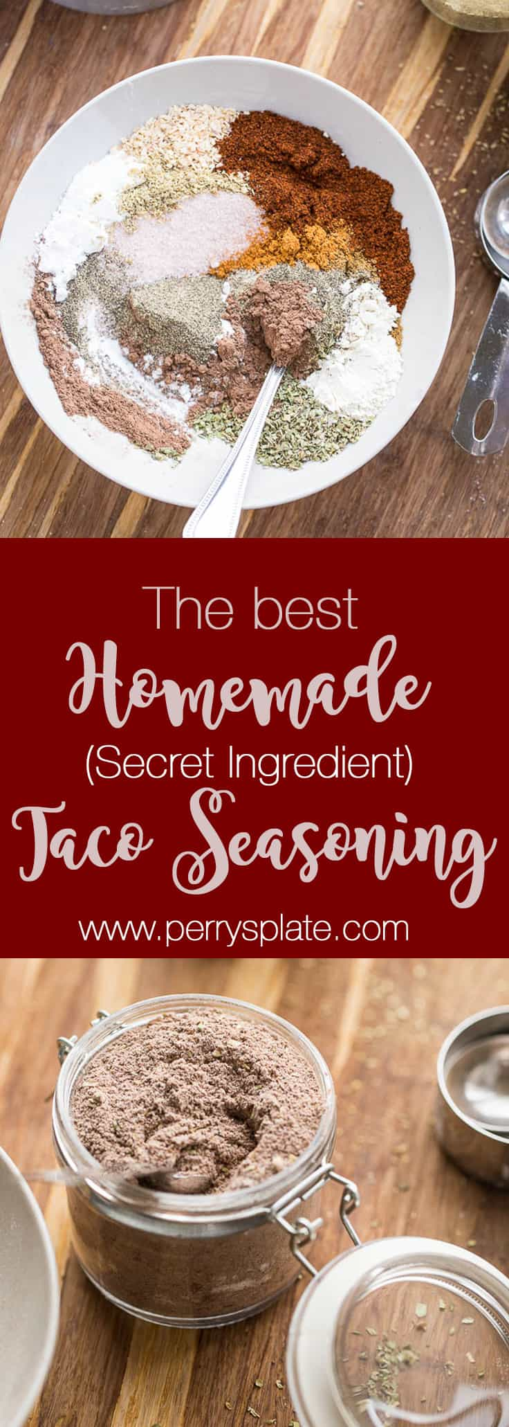 The BEST homemade taco seasoning recipe out there. Honest. And you can tweak it to make it paleo, Whole30 compliant, or keto/low-carb friendly! perrysplate.com #tacoseasoning #homemadetacoseasoning #glutenfree