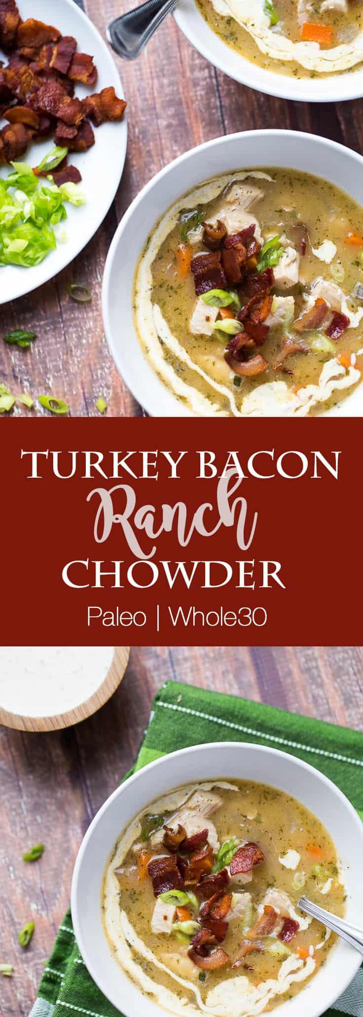 Paleo Turkey Bacon Ranch Chowder | perrysplate.com | paleo soup recipes | whole30 recipes