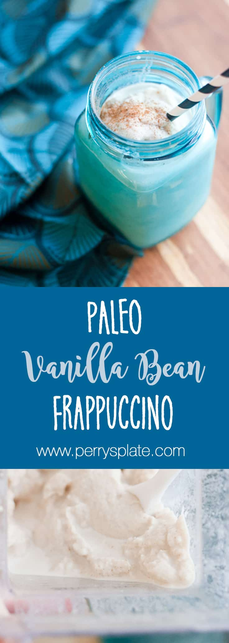 Paleo Vanilla Bean Frappuccino - A knock off of Starbuck's coffee-free frapp, with WAY less sugar. It's naturally sweetened and could be keto or low-carb using a low-carb sweetener! | PerrysPlate.com