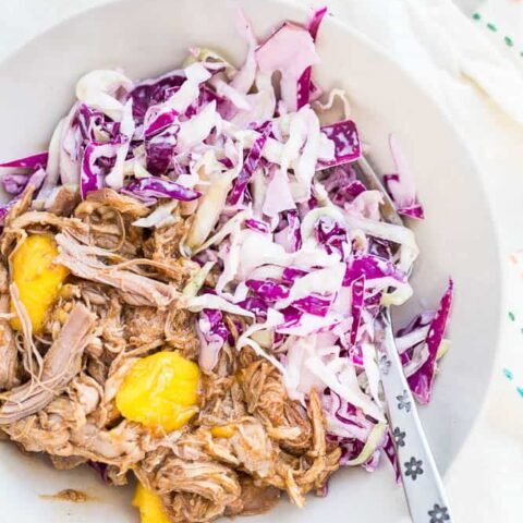 Slow Cooker Mango BBQ Pulled Pork with Jalapeno Slaw